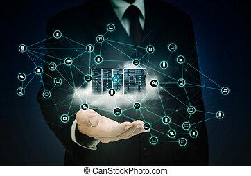 インターネット, ネットワーク, 雲, サーバー