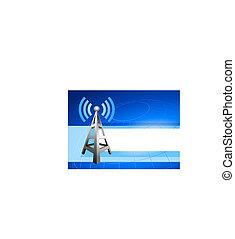 インターネット, ラジオ, 背景, 波, タワー, アイコン