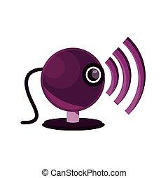 インターネット, 平ら, ビデオ, オンラインで, 活動, webcam, 接続, スタイル, アイコン