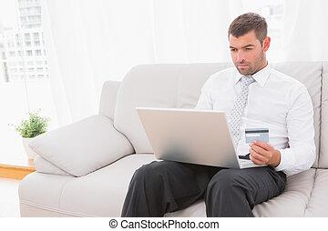 インターネット, 購入, もの, ビジネスマン