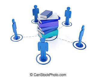 インターネット, 3d, イラスト, technology:, オンラインで, 技術, 教育, 社会
