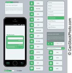 インターフェイス, 使うこと, 要素, デザイン, 平ら