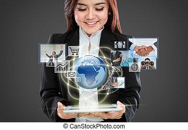 インターフェイス, 女性実業家, 操縦する, バーチャルリアリティ