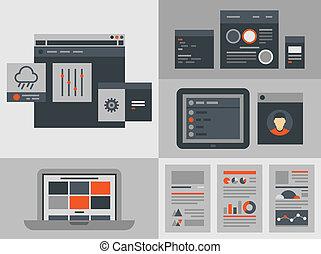 インターフェイス, 平ら, 要素, デザイン, ユーザー
