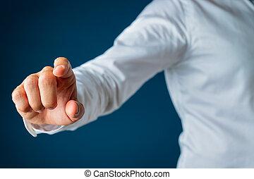 インターフェイス, 感動的である, スクリーン, ビジネスマン, 手, 事実上