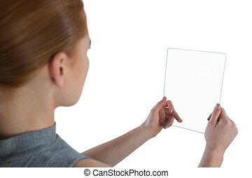インターフェイス, 終わり, ガラス, 女性実業家, の上
