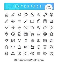 インターフェイス, 線, セット, アイコン