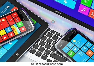 インターフェイス, 装置, touchscreen, モビール
