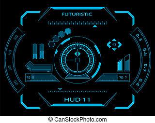 インターフェイス, hud, ユーザー, 未来派