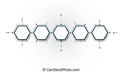 インテグレイテド, 六角形, ペーパー, ラベル, 分子, ベクトル, バックグラウンド。, 3d