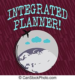 インテグレイテド, 提示, 財政, のまわり, カラフルである, テキスト, planner., 飛行, space., 印, 翻訳, 切望された, 引っ越し, ブランク, 概念, 飛行機, outcomes, ビジネス, 地球, 写真, アイコン