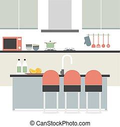インテリア・デザイン, 台所, 平ら, 現代