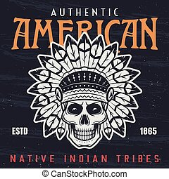 インドのアメリカ人, ネイティブ, 責任者, イラスト, 頭骨