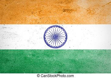 インドの旗, ペーパー, グランジ, 古い