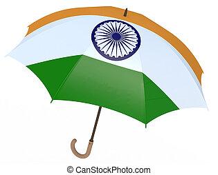 インドの旗, 白人の洋傘, 隔離された