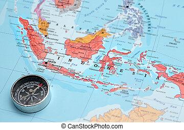 インドネシア, 地図, 旅行ディスティネーション, コンパス