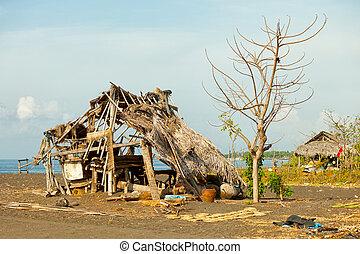 インドネシア, 小屋, 浜。, バリ, 台無しにされる