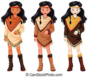 インド人, 衣装, 伝統的である, アメリカ人, ネイティブ, 女性