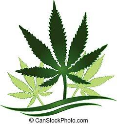 インド大麻の植物, (marijuana), ロゴ