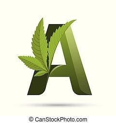 インド大麻の葉, 緑, 手紙, ロゴ