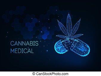 インド大麻, マリファナ, 概念, 白熱, カプセル, 待遇, 葉, poly, 医学, 低い, 丸薬, 未来派