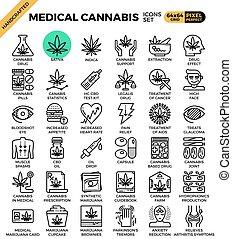 インド大麻, 医学の概念, 線, アイコン