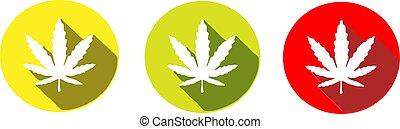 インド大麻, 隔離された, アイコン, 背景