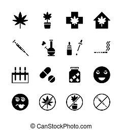 インド大麻, set., イラスト, アイコン, ベクトル