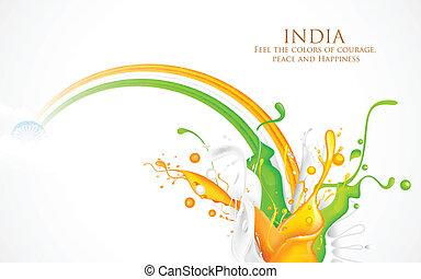 インド, はね返し, 三色旗, カラフルである