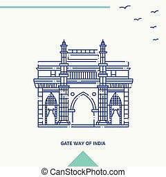 インド, イラスト, スカイライン, ベクトル, 方法, 門