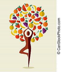 インド, フルーツ, ヨガ, 木
