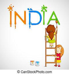 インド, 子供, 三色旗, 絵