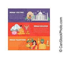 インド, 横, セット, 旗