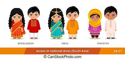 インド, 民族, pakistan., 国民, clothing., セット, dress., アジア 人々, ...