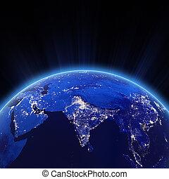 インド, 都市ライト, 夜で