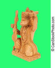 インド, 隔離された, hanuman, 緑の背景, 神