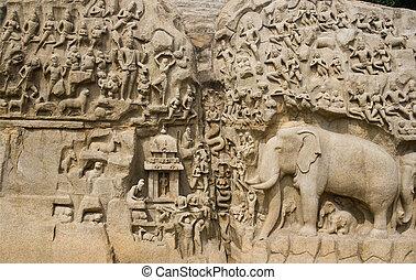 インド, arjunas, -, ざんげ, mahabalipuram