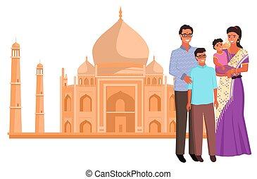 インド, indian, saree, mahal, taj, ベクトル, ランドマーク