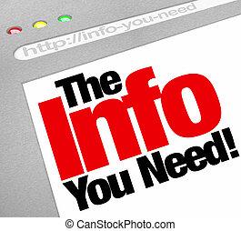 ∥, インフォメーション, あなた, 必要性, ウェブサイト, スクリーン, コンピュータ, インターネットブラウザ