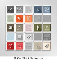 インフォメーション, グラフィック, カラフルである, 現代, テンプレート, 正方形