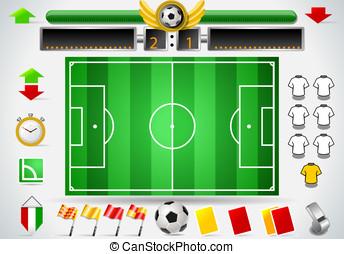 インフォメーション, グラフィック, セット, の, サッカーフィールド, そして, アイコン