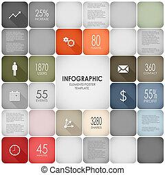 インフォメーション, グラフィック, ポスター, 要素, テンプレート, 正方形