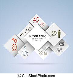 インフォメーション, グラフィック, 抽象的, 立方体, 白, 正方形