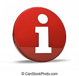 インフォメーション, シンボル, ボタン, 赤