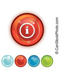 インフォメーション, ボタン, 赤