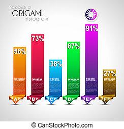 インフォメーション, ランキング, スタイル, histograms., paper., グラフ, 理想, origami, グラフィックス, 流行