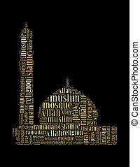 インフォメーション, 作曲された, コラージュ, テキスト, モスク, イスラム教, 形