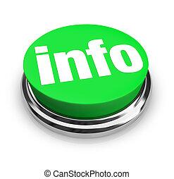インフォメーション, 単語, 得なさい, ボタン, -, 緑, 詳細, ラウンド, もっと