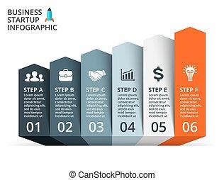 インフォメーション, 図, 概念, 成長, processes., ビジネス, infographic, ライン, オプション, 矢, グラフ, chart., プレゼンテーション, グラフィック, ベクトル, 6, ステップ, データ, template., 部分