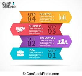 インフォメーション, 図, 概念, 成長, processes., ビジネス, infographic, ライン, オプション, 矢, グラフ, chart., プレゼンテーション, グラフィック, ベクトル, 4, 部分, ステップ, データ, template.